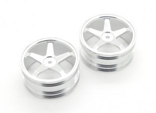 GPM Racing Kyosho Mini Inferno F/R Flat Rims (5 Poles) (Silver) (1pr)