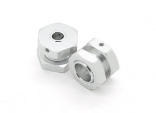 GPM Racing Roadtech Alu. Wheel Hex Adapter 12mm to 17mm, 7mm Offset w/17mm Lock Nut (Silver) (2pcs)