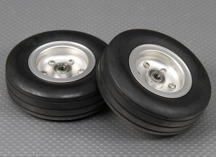 Scale Jet/Warbird Alloy Wheel 90mm w/Grooved Rubber Tire/Ballraced (2pc)