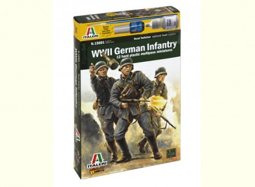 Italeri 1/56 Scale German Infantry 1943 - 1945 (12pc) Military Figure Kit