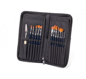 13pcs Artists Synthetic Painting Brushes in Nylon Case
