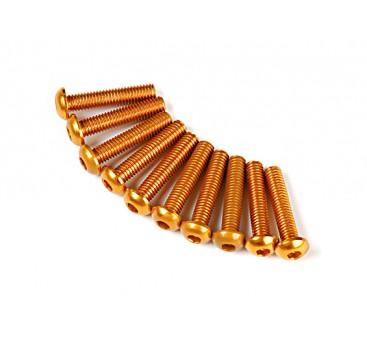 Screw Round Head Hex M3 x 14mm 7075 Aluminium Gold (10pcs)