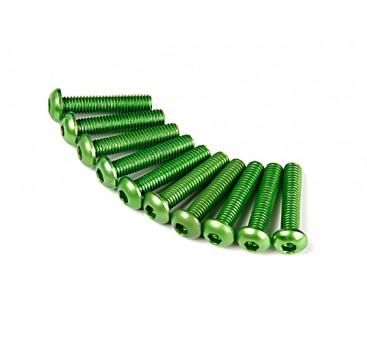 Screw Round Head Hex M3 x 14mm 7075 Aluminium Green (10pcs)