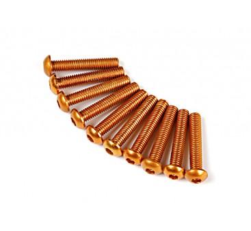 Screw Round Head Hex M3 x 16mm 7075 Aluminium Gold (10pcs)
