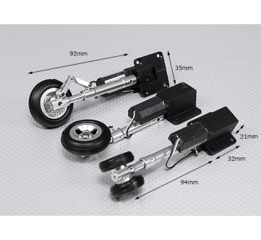 Servoless Retractable Landing Gear V2 (Tricycle) with Oleo Leg's & Alloy Wheels (Short Set)