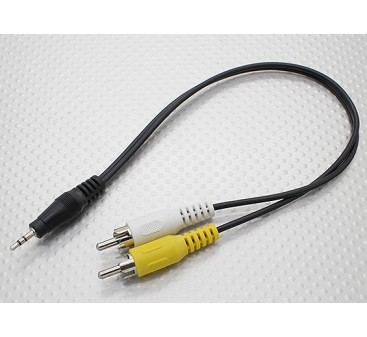 2.5mm to Male Mono RCA A/V Plugs Adaptor Lead (300mm)