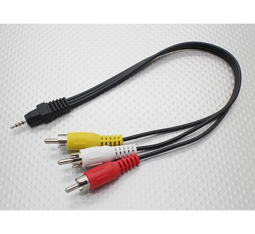 2.5mm to Male Stereo RCA A/V Plugs Adaptor Lead (300mm)