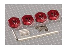 Red Aluminum Wheel Adaptors with Lock Screws - 4mm (12mm Hex)