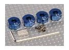 Blue Aluminum Wheel Adaptors with Lock Screws - 6mm (12mm Hex)
