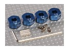 Blue Aluminum Wheel Adaptors with Lock Screws - 7mm (12mm Hex)