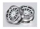1:10 Scale Wheel Set (2pcs) White/Chrome Split 6-Spoke RC Car 26mm (3mm offset)