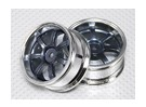 1:10 Scale Wheel Set (2pcs) Grey/Chrome 5-Spoke RC Car 26mm (3mm offset)