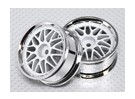 1:10 Scale Wheel Set (2pcs) White/Chrome Split 10-Spoke RC Car 26mm (no offset)