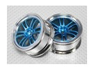 1:10 Scale Wheel Set (2pcs) Chrome/Blue Split 6-Spoke RC Car 26mm (no offset)