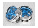 1:10 Scale Wheel Set (2pcs) Blue/Chrome 5-Spoke RC Car 26mm (No Offset)