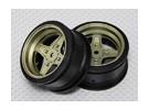 1:10 Scale Wheel Set (2pcs) Gold/Black 4-Spoke RC Car 26mm (No Offset)