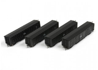 P64K Box Car (Ho Scale - 4 Pack) Black all 4
