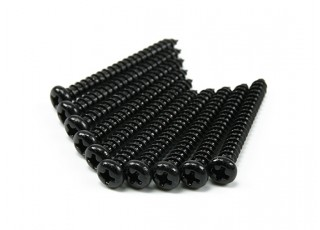 Screw Round Head Phillips M4x36mm Self Tapping Steel Black (10pcs)