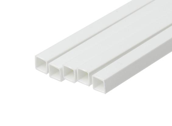 ABS Square Tube 6.0mm x 6.0mm x 500mm White (Qty 5)