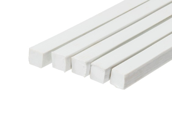 ABS Square Rod 8.0mm x 8.0mm x 500mm White (Qty 5)