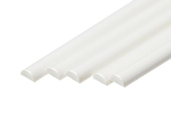 ABS Half Round Rod 5.0mm x 500mm White (Qty 5)