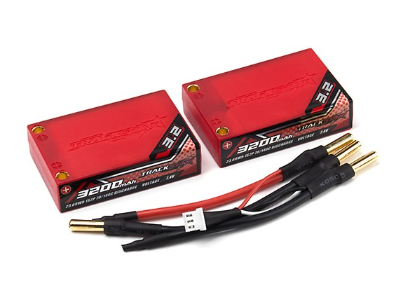 Trackstar 3200mAh 3.7V 70C Lipo Car Pack 1S2P