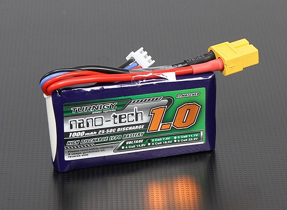 Turnigy nano-tech 1000mAh 2S 25 Pack Lipo ~ 50C