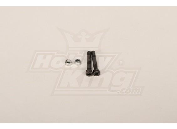 90 & 700 Size Heli Main Blade Screw w / Lock Nut 5x34mm (2 stuks / zak)
