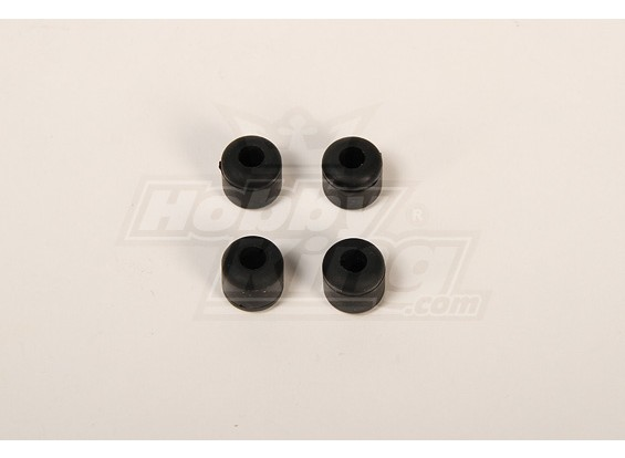 Landing Skid Rubber Nut Black (dia 7mm) voor 8mm Landing Skid (JR, Rapotor, RJX)