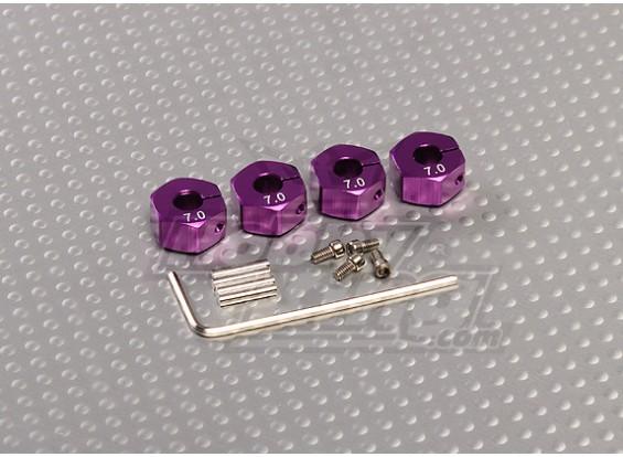 Paars Aluminium Wiel Adapters met Lock Schroeven - 7mm (12mm Hex)