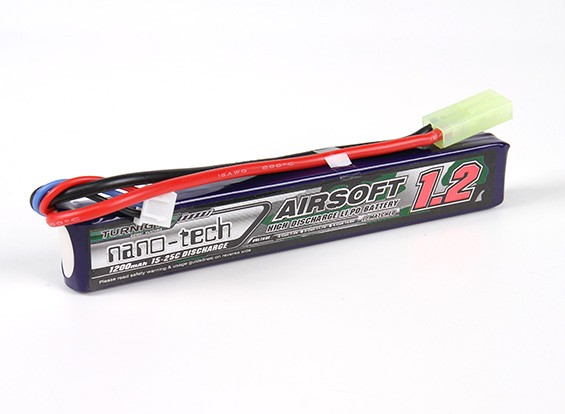 Turnigy nano-tech 1200mAh 2S 15 ~ 25C Lipo AIRSOFT Pack
