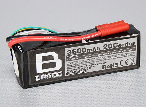 B-Grade 3600mAh 4S 20C LiPoly Battery