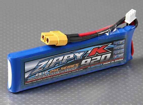 Zippy-K Flightmax 920mAh 25C 2S1P LiPoly Battery