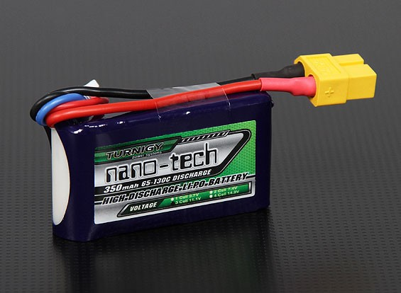 Turnigy nano-tech 350mAh 3S 65 ~ 130C Pack Lipo