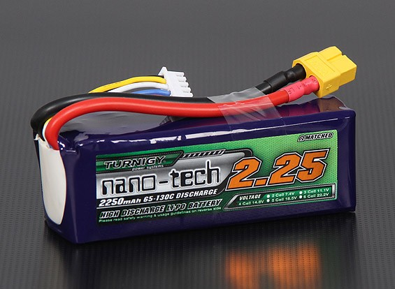 Turnigy nano-tech 2250mAh 4S 65 ~ 130C Pack Lipo