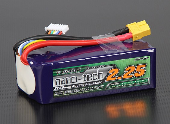 Turnigy nano-tech 2250mAh 6S 65 ~ 130C Pack Lipo