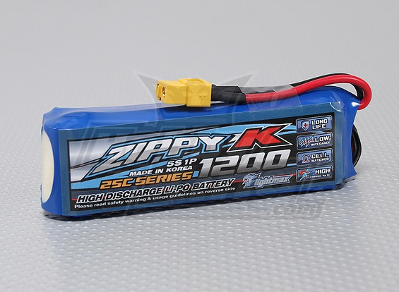 Zippy-K Flightmax 1200mAh 5S1P 25C LiPoly Battery