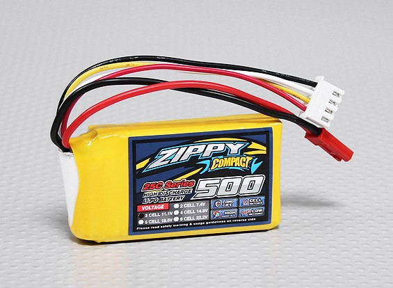 Pack ZIPPY Compact 500mAh 3S 25C Lipo
