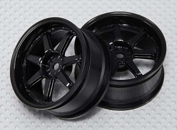 01:10 Schaal Wheel Set (2 stuks) Zwart 7-Spoke RC Car 26mm (3mm Offset)