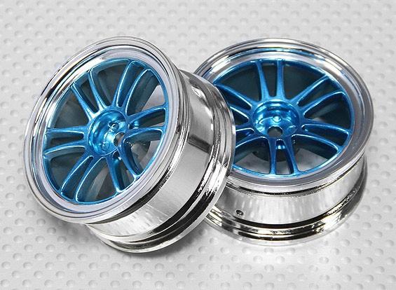 01:10 Schaal Wheel Set (2 stuks) Chroom / Blauw Split 6-Spoke RC Car 26mm (geen offset)