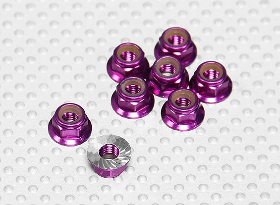 Paars geanodiseerd aluminium M5 Nylock Wheel Nuts w / Serrated Flens (8 stuks)