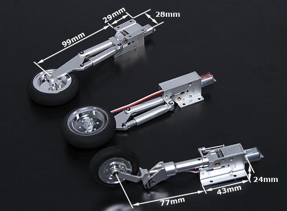 Full Metal Servoless Retract met Oleo Legs (Tricycle, Mig 17 type) 90-1,20 klasse
