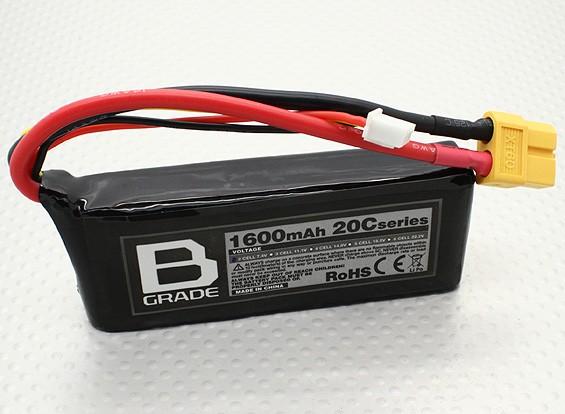 B-Grade 1600mAh 2S 20C LiPoly Battery