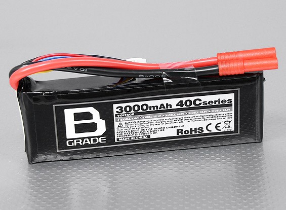 B-Grade 3000mAh 3S 40C LiPoly Battery