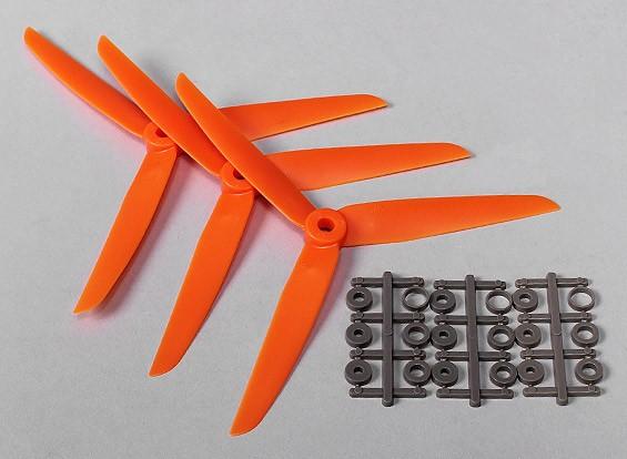 Hobbyking ™ 3-Blade Propeller 7x3.5 Orange (CCW) (3 stuks)