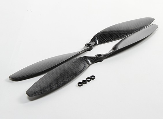 Carbon Fiber Propeller 12x3.8 Black (CW / CCW) (2 stuks)
