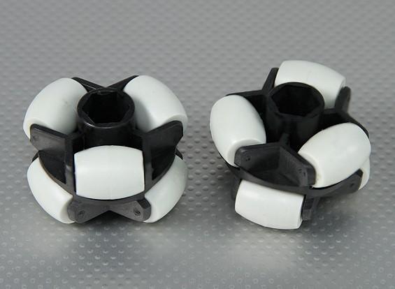 55x45mm Plastic Omni Wheel 16mm Hex (2Pcs / Bag)
