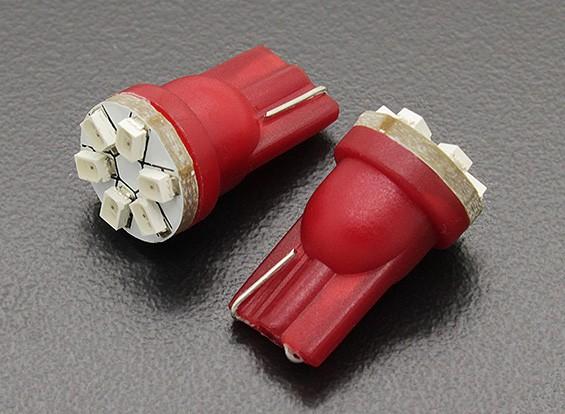 LED Corn Light 12V 0.9W (6 LED) - Rood (2 stuks)