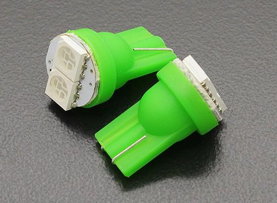 LED Corn Light 12V 0.4W (2 LED) - Groen (2 stuks)