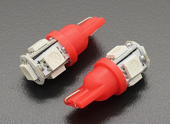 LED Corn Light 12V 1.0W (5 LED) - Rood (2 stuks)